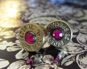 38 Special bullet stud earrings with pink rhinestones