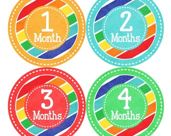 Baby Month Milestone Stickers FREE Baby Month Sticker Baby Monthly Stickers Baby Boy Bodysuit Stickers Baby Photo Props Rainbow 079B