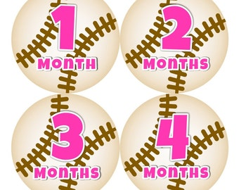 Baby Monthly Stickers FREE Baby Month Milestone Sticker Baby Month Stickers Baby Girl Bodysuit Stickers Baby Gifts Pink Brown Baseball 132B