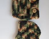 Camoflauge Crochet Newsboy Hat and Diaper Cover - Hunting or Military Hat - Photo Prop