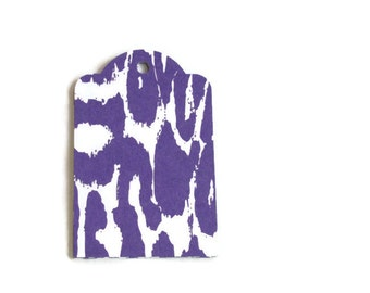 Purple Leopard Print Gift Tags ...Set of 5