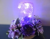 Purple flower centerpiece - Mason Jar with LED lights and lovely purple flower ring
