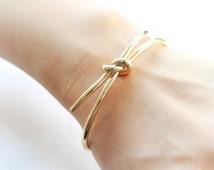 Knot Bangle / Love Knot bracelet, gold and silver