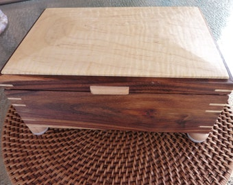 Handcrafted Mesquite Jewelry/Keepsake Box with Curly Maple lid
