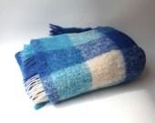 Vintage retro blue, aqua and white check mohair wool picnic travel blanket throw
