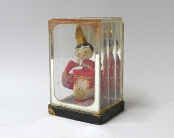 Vintage collectable small Japanese geisha doll diorama, shadow box miniature geisha doll, mid century Japan souvenir