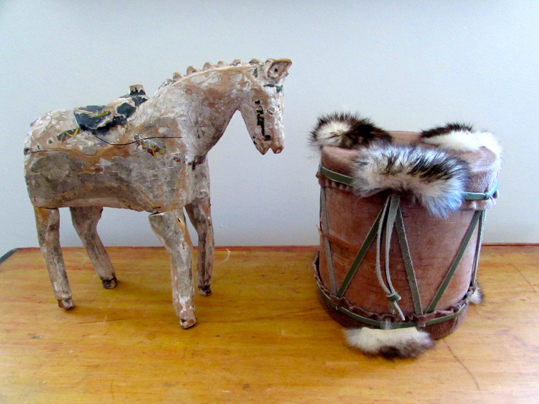 Vintage native american drum home decor animal fur bark for Native american home decorations