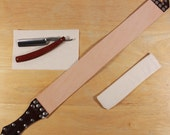 Maple straight razor set with strop and travel pouch, red
