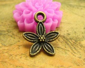 50 pcs Antique Bronze Flower Charms Tiny Size 13x11mm CH2104