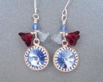 Light blue rhinestone earrings, pale blue and wine flower dangle crystal earrings, bright silver, wine and light blue crystal jewelry
