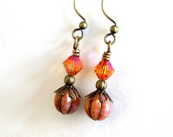 Pink orange bead earrings, aged brass earrings, earthy colors, Czech glass, Austrian crystal, antiqued brass, glass bead jewelry