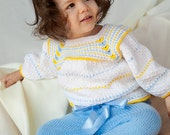 Sale-  Knitted children set , knitted baby set, baby sweater and pants, white and blue,baby sweater,  READY TO SHIP