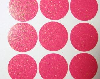 """50 Hot Pink Glittered 1"""" Round Confetti  E1591"""