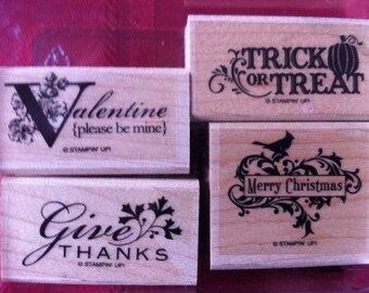 Stampin Up Rubber Stamp Set HOLIDAY Best Set of 4 Rubber Stamps Wood Mount Valentine Thanks Trick or Treat Christmas