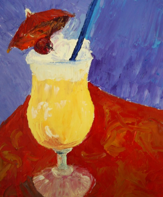 Still Life Abstract Painting - Tropical Drink - Original Oil Palette Knife Painting - Pub Painting - Yellow Red Blue Painting - modern art