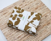 Large Cloth Napkins - Set of 4 - (N2473) - Khaki Leaves Modern Reusable Fabric Napkins