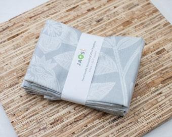 Large Cloth Napkins - Set of 4 - (N2458) - Gray Leaves Modern Reusable Fabric Napkins