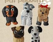 Cute plush Dogs sewing pdf pattern set Three