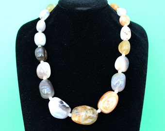 Beautiful Botswana Agate Graduated Smooth Pebble Necklace