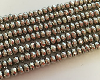 Silver Pyrite Faceted Rondelles-7mm