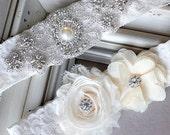Wedding Garter Belt Set Bridal Garter Set Ivory Lace Garter Belt Lace Garter Set Rhinestone Crystal Pearl Center Garter GR114LX