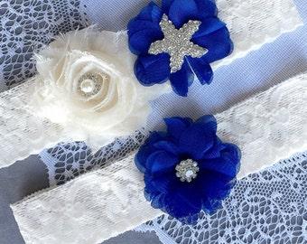 Wedding Garter Bridal Garter Set Royal Dark Blue Lace Garter Set Ivory Rhinestone Crystal Starfish Garter Beach Wedding GR124LX