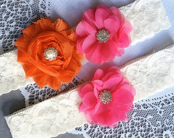 Wedding Garter Set Bridal Garter Set Fuchsia Hot Pink PersimmonHot Orange Ivory Rhinestone Crystal Lace Garter Set GR134LX