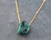Raw Emerald Necklace - Gold Satellite Chain - Rough Gemstone Nugget Boho Style Layering Jewelry - May Birthstone Pendant - Layered Necklace