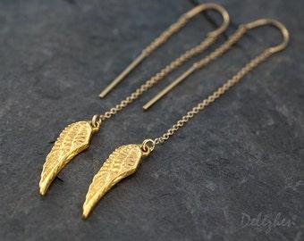 Gold Ear Thread Earrings - Ear Threader Earrings - Minimal Jewelry - Long Gold Dangle Earring - Wing Charm - Angel Wing Charm Earrings