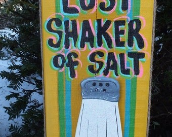 LOST SHAKER of SALT - Tropical Paradise Island Beach Pool Patio Tiki Bar Hut House Drink Handmade Wood Sign Plaque