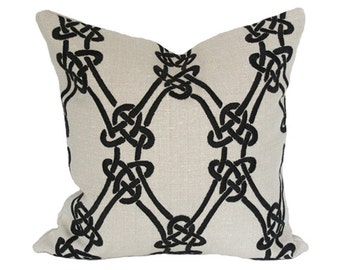 Gordian Weave Ebony on Greige Pillow Cover (Single-Sided) - Made-to-Order