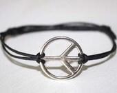 Peace Bracelet or Anklet in Silver, Peace Sign Bracelet, Peace Jewelry, BFF Gift, Friendship Gift, Silver Bracelet, Unisex Jewelry