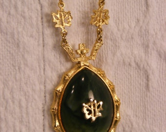 Asian Inspired Jade Glass Cabochon Teardrop Pendant Framed in Gold Tone, Beautiful Detail.