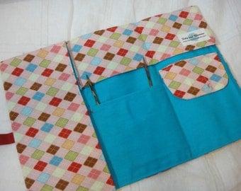 On Sale -Pink Argyle Travel Knitting Needle Case - Holds needles and patterns