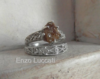 Art deco - Raw Rough Diamond - Sterling Silver-Solitaire- promise-alternative-one of a kind wedding ring set