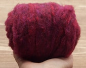 Black Cherry Needle Felting Wool, Wool Batting, Batts, Wet Felting, Spinning, Dyed Felting Wool, Maroon, Dark Magenta, Fiber Art Supplies
