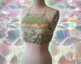 Pastel Goth Kawaii Seafoam Green Ditsy Landscape Print 70s Fabric Handmade Adjustable Halter Top