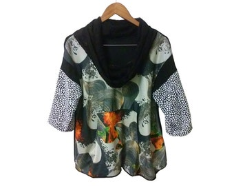 Goth Black Cowlneck Drapey Kangaroo Pocket Blouse w Patchwork Sleeve made of New and Vintage Materials size Large