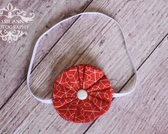ON SALE - Newborn Rust Fabric Flower Headband