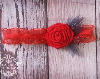 On Sale - Newborn Red Flower Headband