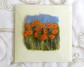 Handmade Felt Mothers Day Blank Card Orange Flowers