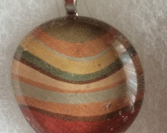 Browns Earth tones glass art pendant necklace and earrings -