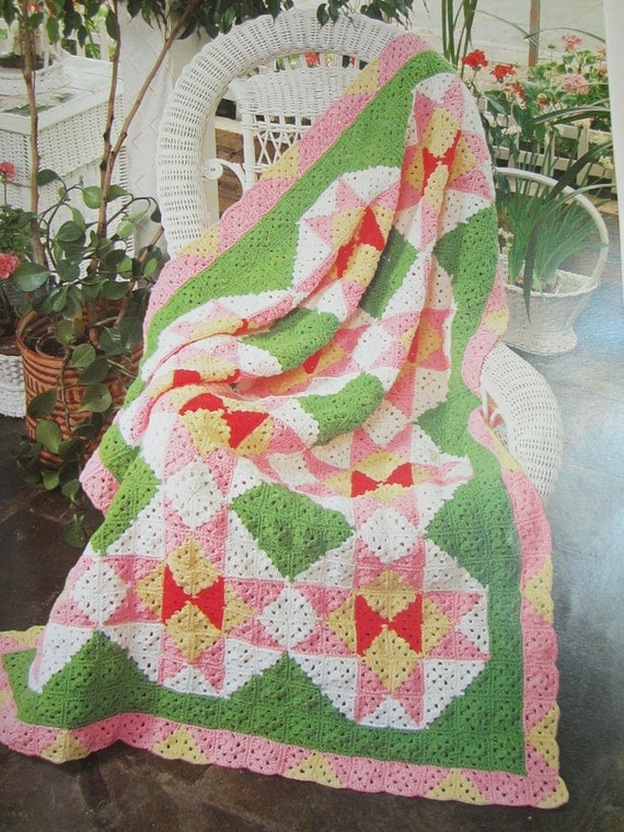 Book Cover Crochet Quilt : Vintage crochet afghan pattern book day afghans