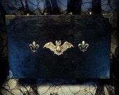 Antique Gold Bat Fleur de Lis Black Wood Goth Gothic Handbag Case Box Purse