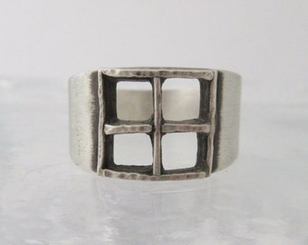 silver window ring sterling band silver ring