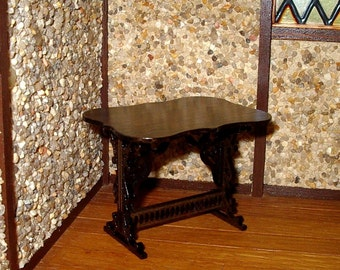 Gothic Trestle Table, Dollhouse Miniature 1/12 Scale, Hand Made