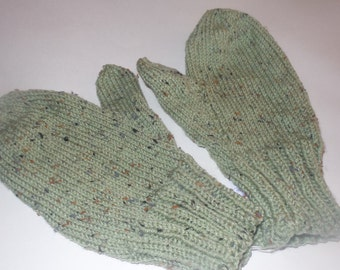 Handmade Mittens Mens Frosty Green Fleck