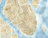 Charleston South Carolina 5x7 8x10 11x14 12x16 Watercolor City Map Prints
