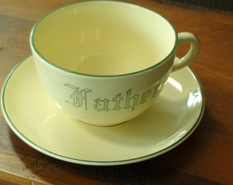 """Continental Kilns Oversized Soft Yellow Stoneware """"Father"""" Cup and Saucer With Green Letters, Edging,Handle Trim, Great Fathers Day Gift"""