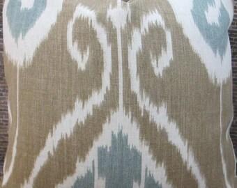 3BM Designer Pillow Covers -16 x 16, 18 x 18, 20 x 20, 22 x 22, 24 x 24, 26 x 26 - Bansuri Ikat  Bramble Taupe and Aqua Blue
